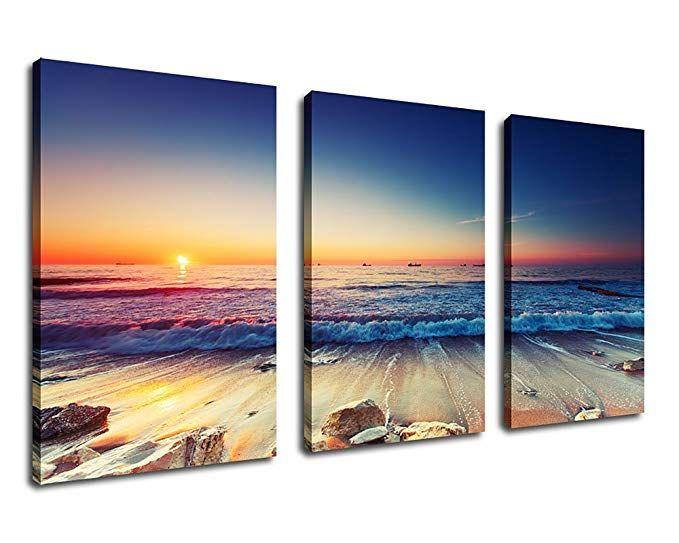 Large Canvas Wall Art Sunset Beach Waves Canvas Artwork Ocean