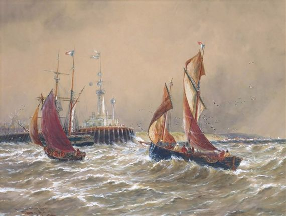 Thomas Bush Hardy - Shipping off a harbour, I889,...