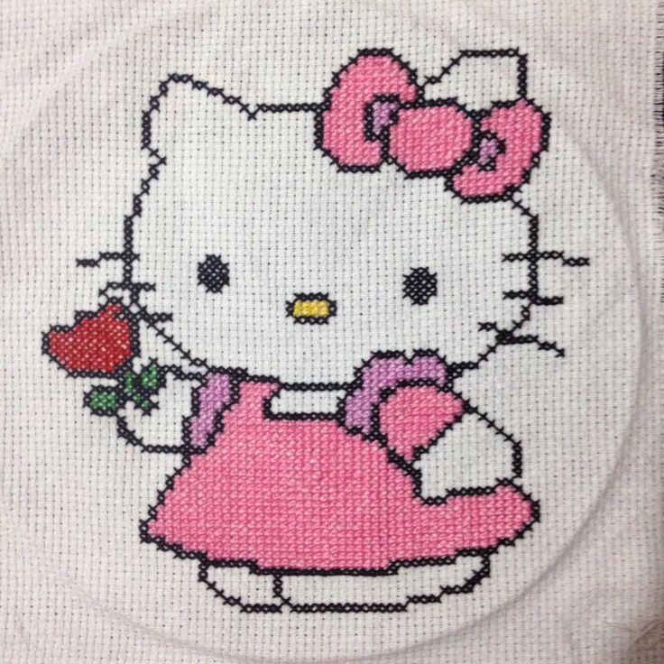 Hello kitty, handmade, crossstitch, xstitch, kanavice, etamin