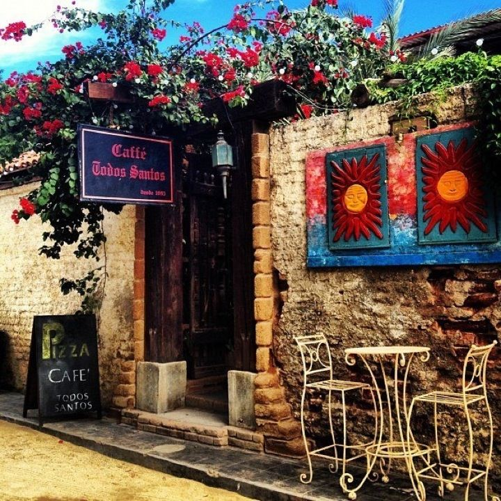 Todos Santos- quaint, rustic buildings with lovely gardens