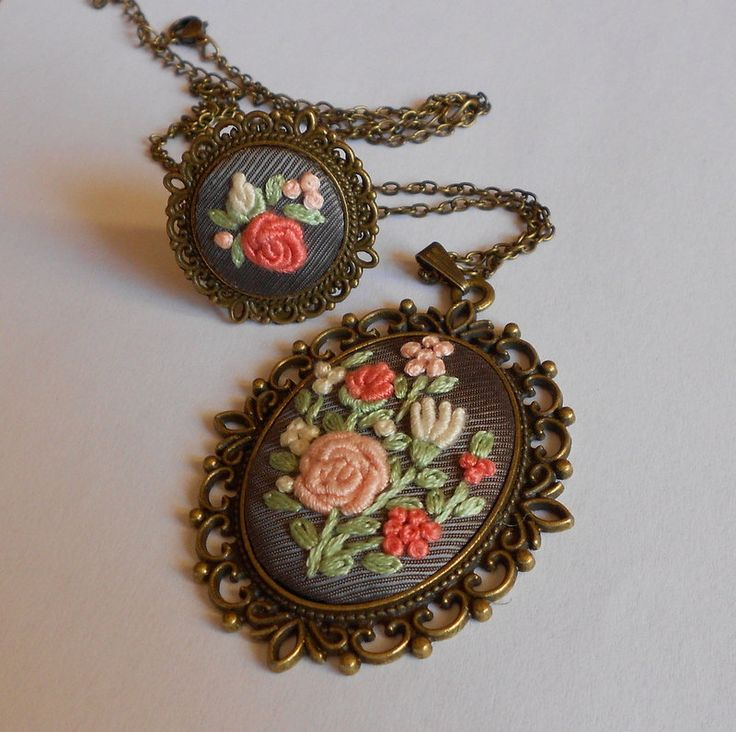Vintage Jewelry Set, Statement Necklace, Cocktail Ring, Adjustable Ring, Fabric Jewelry, Pendant Necklace, Handmade Jewelry, Gift for Her