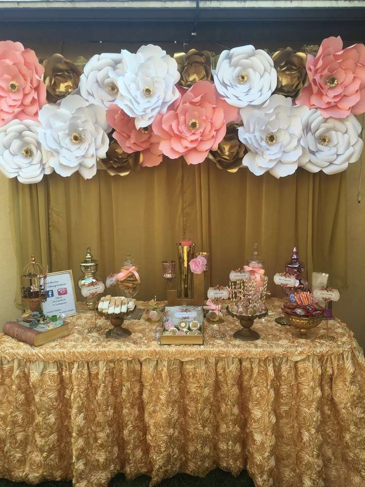 Gold and peach flower Quinceañera birthday party! See more party planning ideas at CatchMyParty.com!