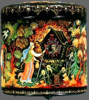 Beautiful Russian lacquer box from M.Veselov of the village of Kholui, 1985.  Depicts a scene from a Russian Fairy tale, Vassilisa la Belle, in which a magic doll saves Vassilisa from being eaten by the witch Baba-Yaga.  This folk tale has elements fo Cinderella - a bad stepmother and sisters who hate Vassilisa and seek Baba-Yaga's help in getting rid of her.