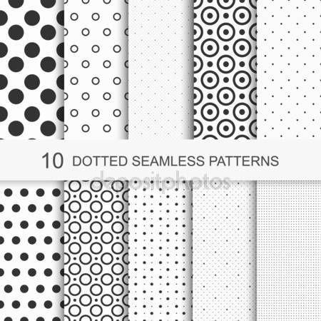 Patronen met cirkels en stippen, zwart-wit textuur, naadloze vector achtergronden — Stockillustratie #57087013
