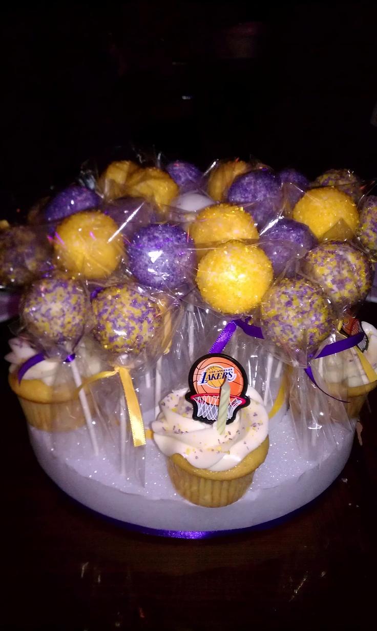 Lakers Theme Cake Pops Birthday party treats