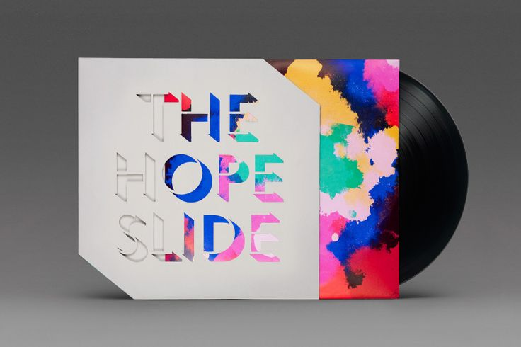 Album art by Post Projects for artists The Hope Slide, with die-cut slip cover forming band name out of colour on the record sleeve. Love it!