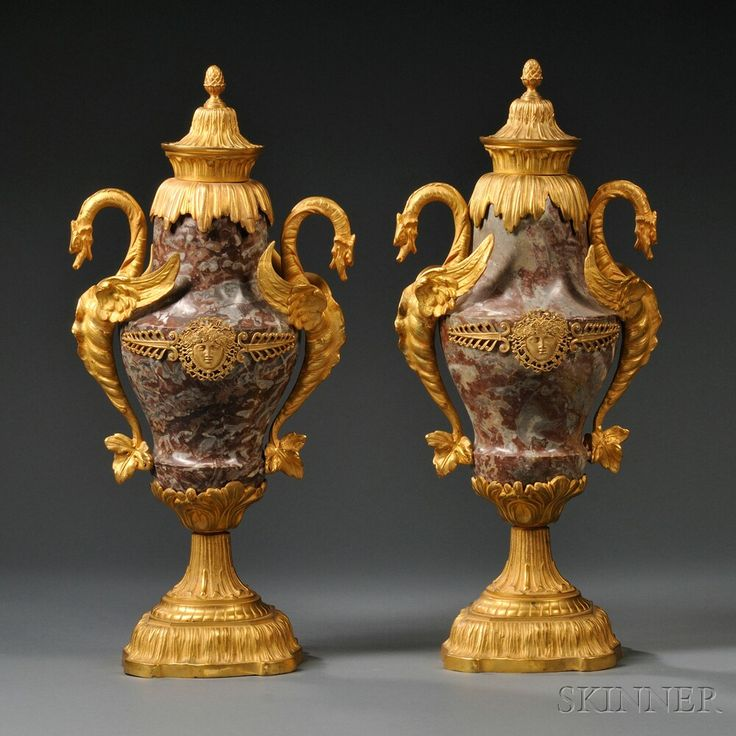 Pair of Rouge Marble and Gilt-bronze Urns and Cove…