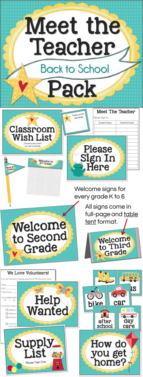 Meet The Teacher Pack includes everything you need - posters, signs, forms, and more for every grade K-6!