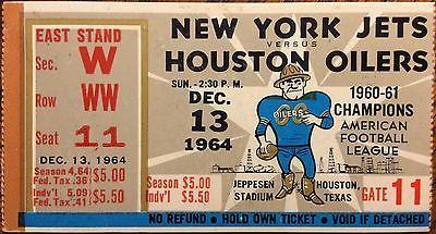 1964 AFL NY JETS vs HOUSTON OILERS @ Jeppesen Stadium TICKET STUB