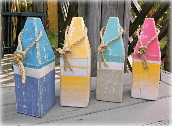 Decorative Buoy Pair Wooden Buoys Striped Lobster Buoy