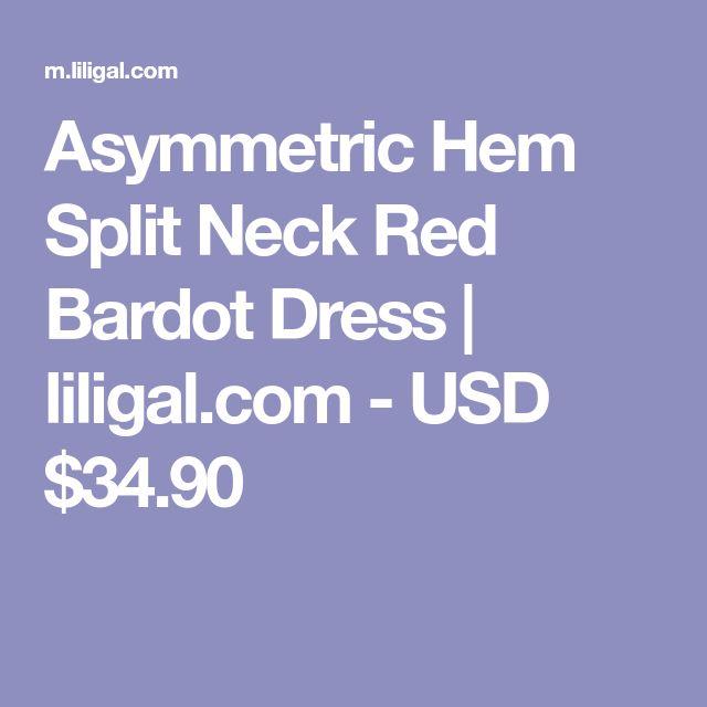 Asymmetric Hem Split Neck Red Bardot Dress | liligal.com - USD $34.90