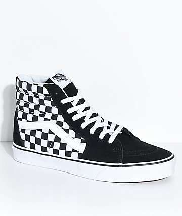 1d24d9791f5 Vans Sk8-Hi Black   White Checkered Skate Shoes