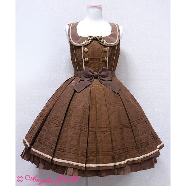 Melty Ribbon Chocolate Collar JSK ❤ liked on Polyvore featuring lolita, dresses, angelic pretty, brown and chocolate
