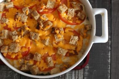 Creamy Chicken and Vegetable Casserole with Soft Bread Cubes: Creamy Chicken Casserole With Vegetables
