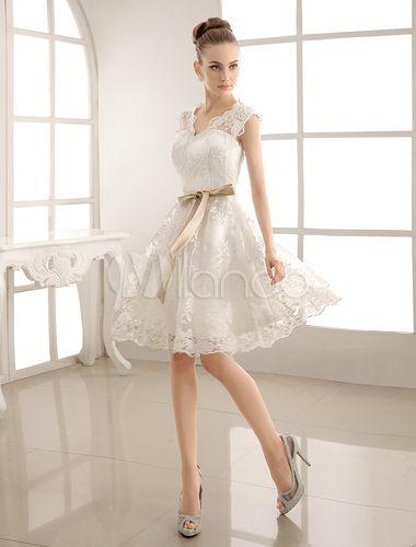 V-Neck Satin & Lace Short Wedding Dress With Sash - Milanoo.com