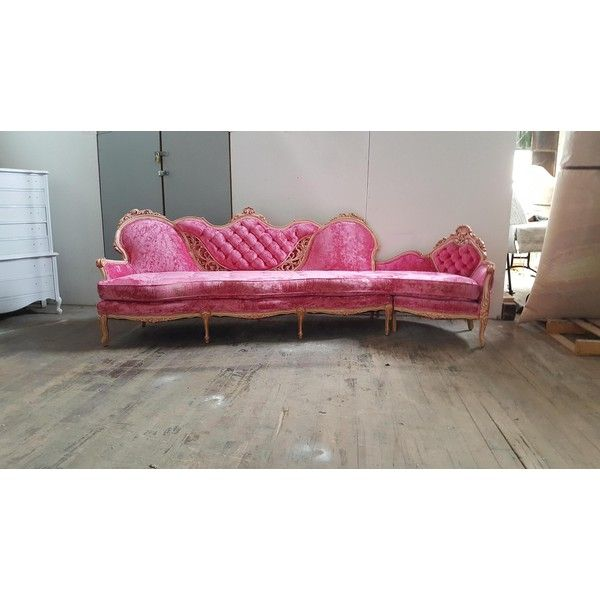 Vintage French Provincial Pink Velvet Sectional Hollywood Regency... ? liked on Polyvore featuring  sc 1 st  Pinterest : velvet tufted sectional - Sectionals, Sofas & Couches