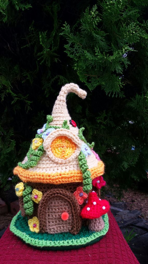 Fairy /Gnome Fantasy house handmade crochet by emcrafts on Etsy