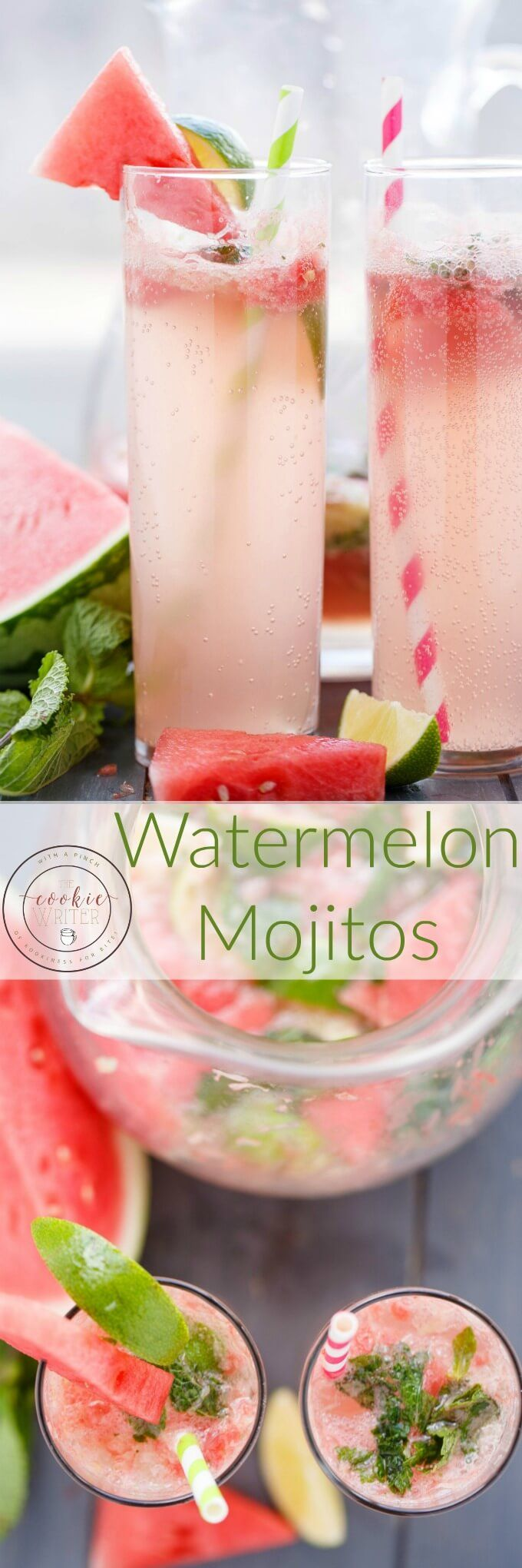 Watermelon Mojitos | http://thecookiewriter.com | @thecookiewriter | #drink