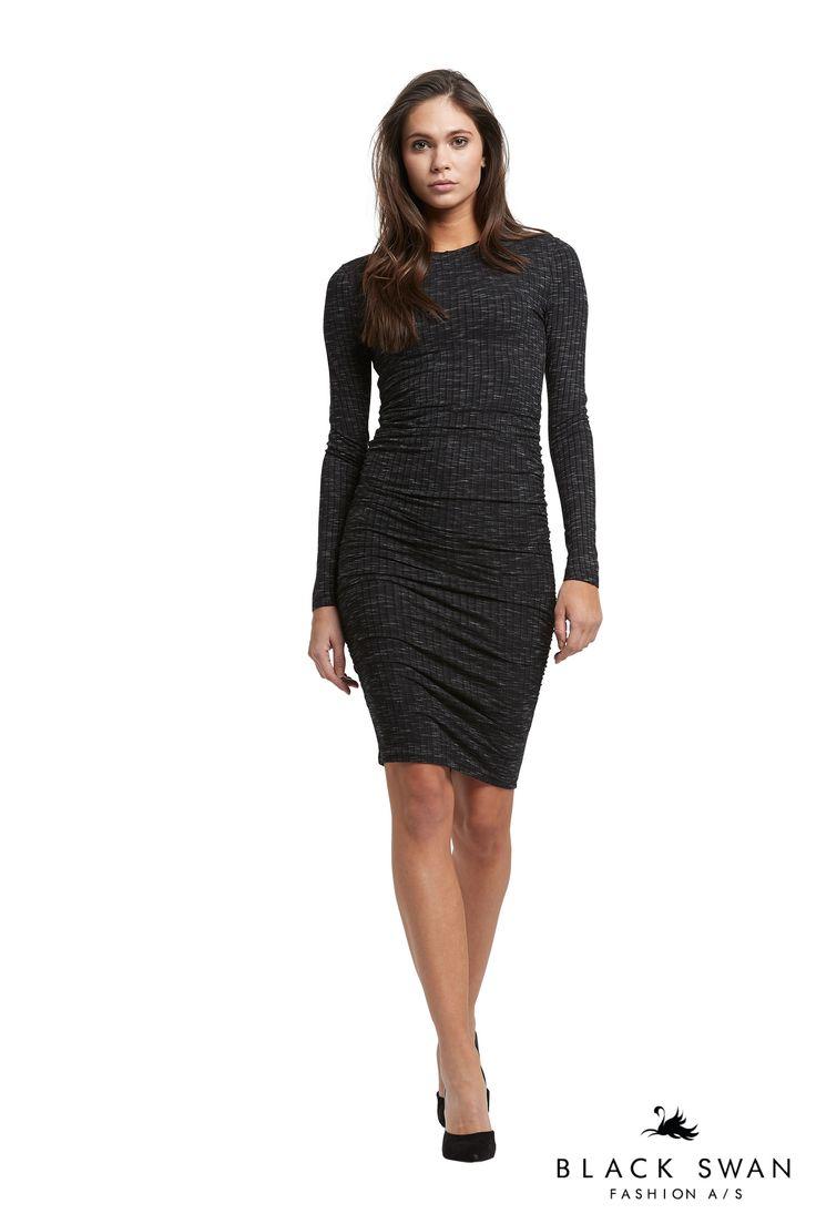 Jamilla dress  Soft dark grey melange rib dress with wrinkle detail in both sides. Black Swan Fashion SS17
