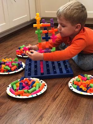 100th Day of School Celebration: Have students build a structure using 100 blocks, pipes, Legos, MegaBloks, or whatever you have in your classroom/kids' closets!  These Jumbo Pipe Connectors from Oriental Trading are super fun with endless possibilities. Great STEM activity for the 100th day of school. #100thdayofschool
