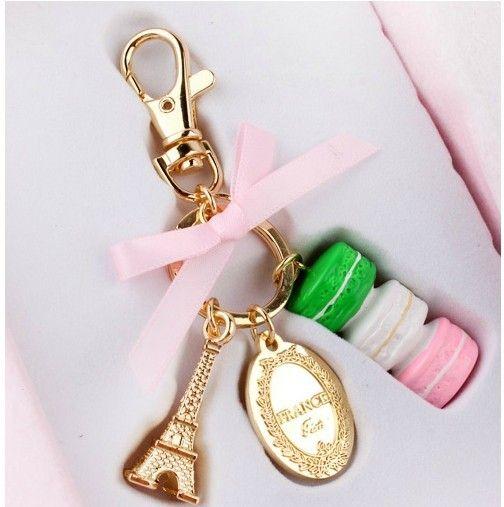 Бесплатная доставка бутик модной одежды в Париже, Франция Эйфелева башня торт приток товары Macarons металлической связке ключей 384,52