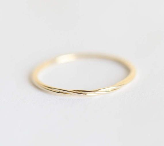 Twisted Band, Twisted Ring, Gold Rope Ring, Thread ring, Simple Thin Band, Skinny Ring, Extra delicate Ring, 14k Solid gold