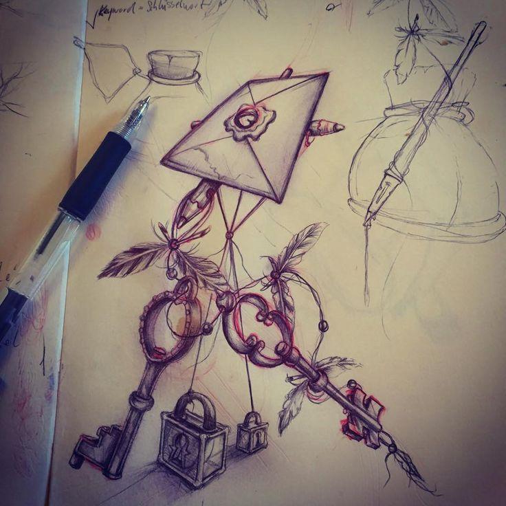 #sketch #drawing #painting #pencil #work #skullpellartwork.com #sinntraegertattoos #leipzig #sketching #steve bauer #pic #art #sketching #drawingtime #skizze #sinntraeger # tattoo #letter #brief #schlüssel #key #lock #schloss #flügel #wings