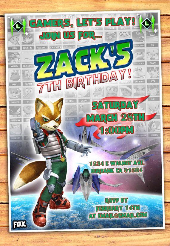 Star Fox Birthday Invitation, Star Fox Invitation, Video Game Invitation