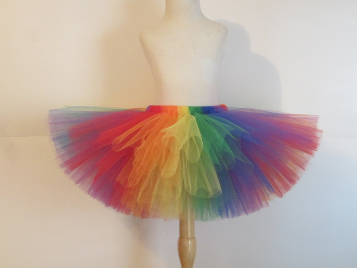 Adult  Rainbow Tutu Skirt Teen Clown Costume Birthday Rainbow Brite Costume  Halloween Classic Rainbow by American Blossoms. $49.00, via Etsy.
