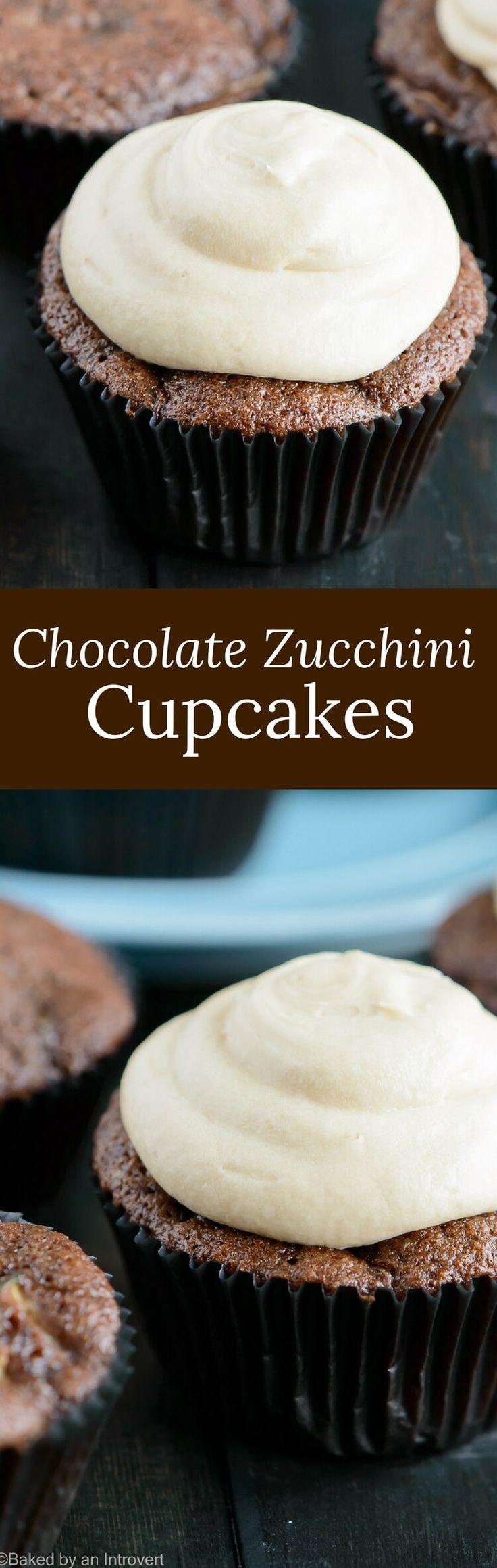 Chocolate Zucchini Cupcakes   Dessert   Cupcakes via @introvertbaker