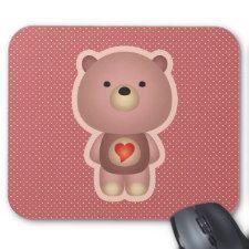 Cute Bear Pink Mouse Pad