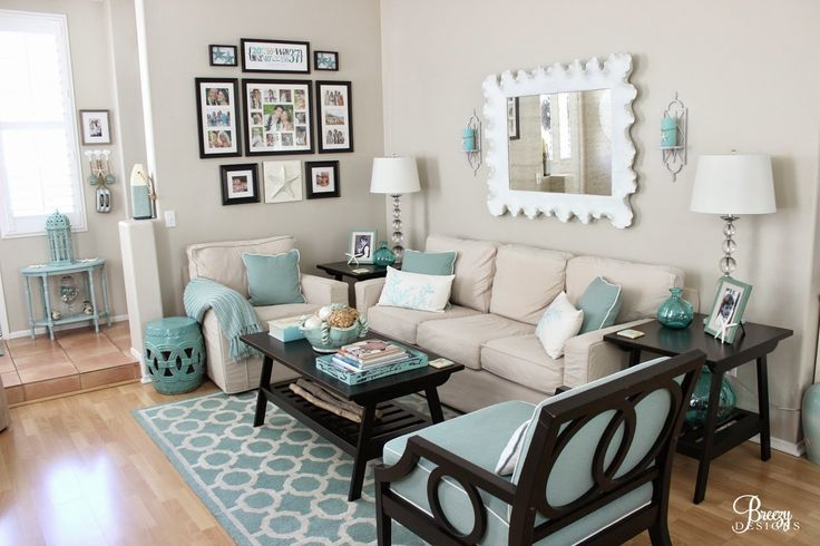 coastal living room Breezy Designs Lovely Living Rooms - grey and turquoise living room