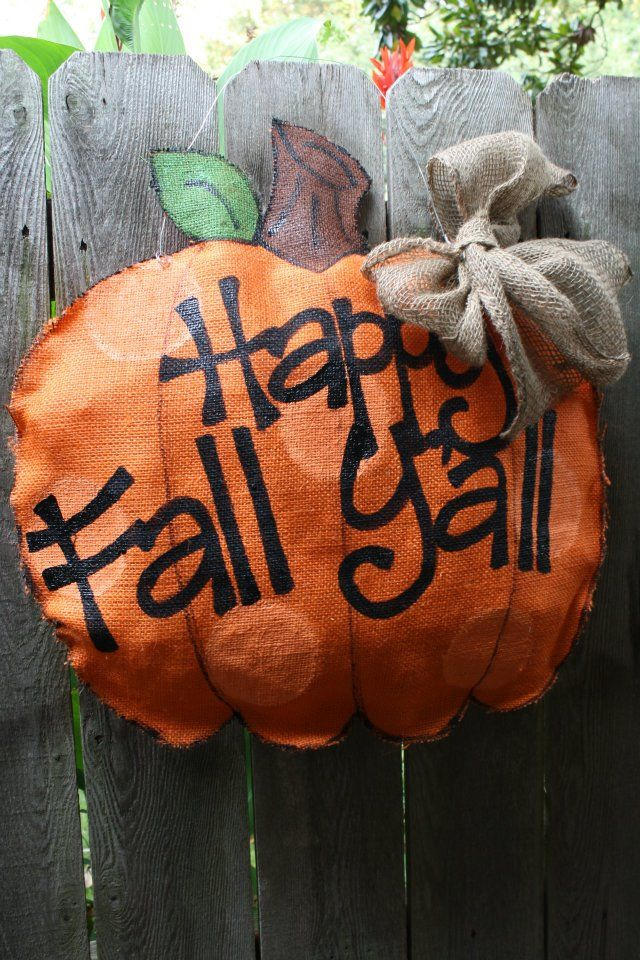 Burlap door hanging - Happy Fall Y'all