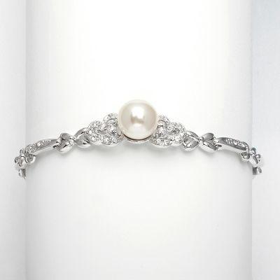 Jeannie Bridal Bracelet : Art-Deco CZ & Pearl   www.glamadonnashop.com.au