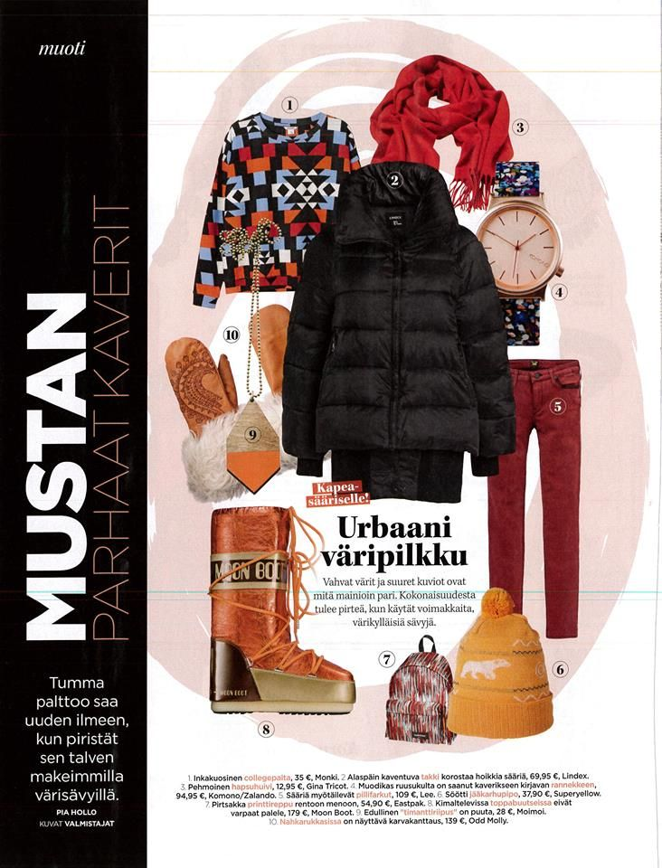 Cold weather styles in Me Naiset magazine..Boost your winter style with SUPERYELLOW beanies made from soft wool <3 Available at shop.superyellow.fi