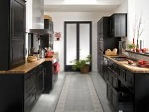 Photo cuisine noire style bistrot cuisine noir site for Cuisine aspect bois