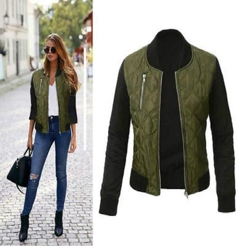 3a7d1c837d Stylish Womens Jacket Classic Padded Bomber Vintage Zip Up Biker Ladies Coat  New