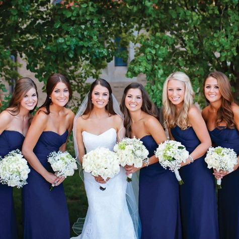 Navy bridesmaid dresses and white bouquets | Heather Ann Design & Photography