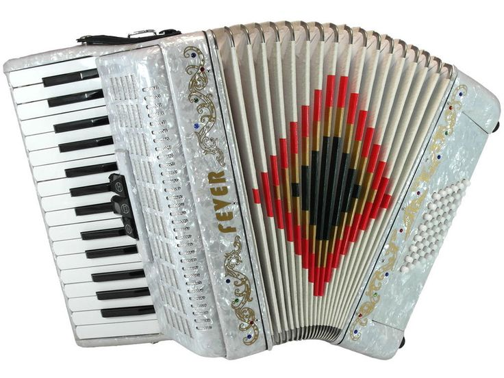 Fever Piano Accordion 3 Switches 30 Keys 48 Bass, White #Fever