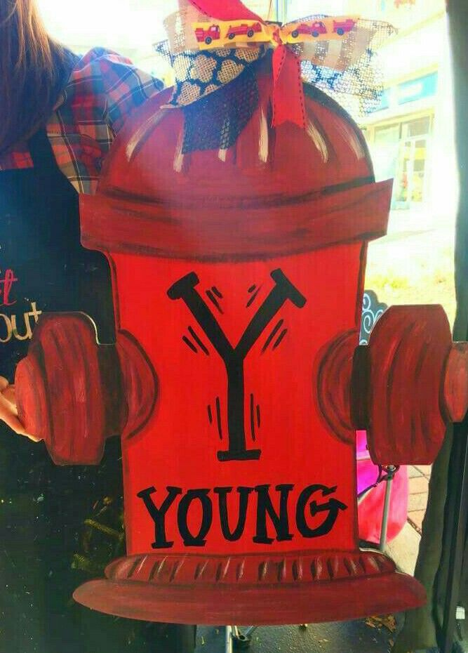 Fire Hydrant Wooden Door Hanger ● Personalized with Single Letter Monogram and Family's Last Name ● Craft Night Out at Pumpkin Fest @Statesville NC