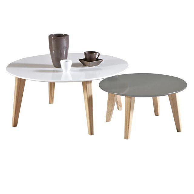TABLE BASSE GIGOGNE RONDO ACHATDESIGN : prix, avis & notation, livraison.  TABLE BASSE GIGOGNE RONDO RONDO est composé de deux tables gigognes scandinaves rondes, une blanche et une gris foncé, des couleurs typiques du style nordique. Ces couleurs sont mélangées au piètement en bois venant donner une touche de chaleur et d'authenticité aux tables. Fabriqué en France, ces tables au piètement en bois vous sont proposées avec une finition et une solidité exemplaire.Plateau en MDF Finition…