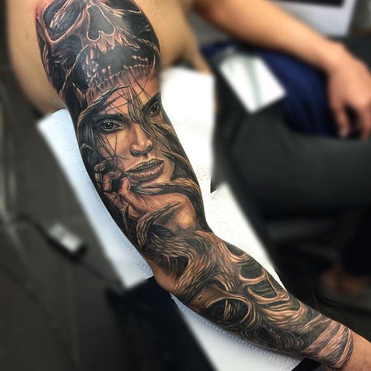 realistic tattoo sleeve done by Yariel Barba in black & grey ink (11)
