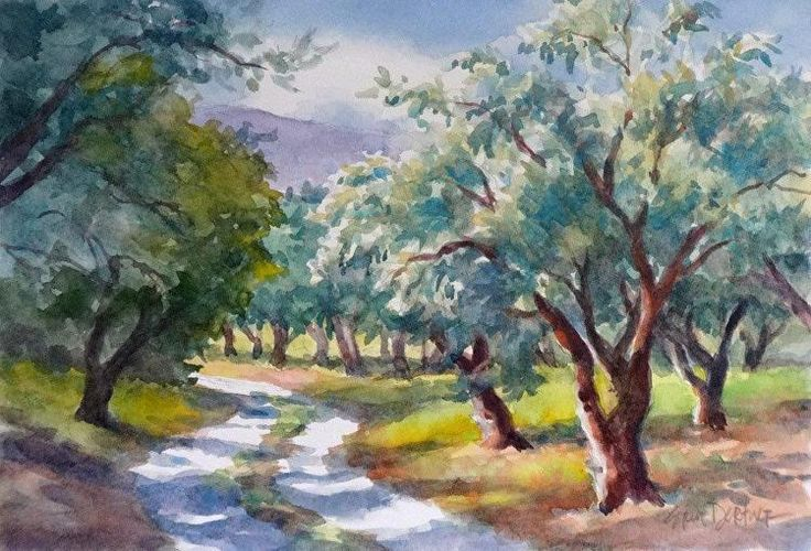 'Galatas Olives' by Erin Dertner | Original Watercolor Painting of olive trees in an orchard bordering a curving country road ~ 10 x 7 | Available for sale $75