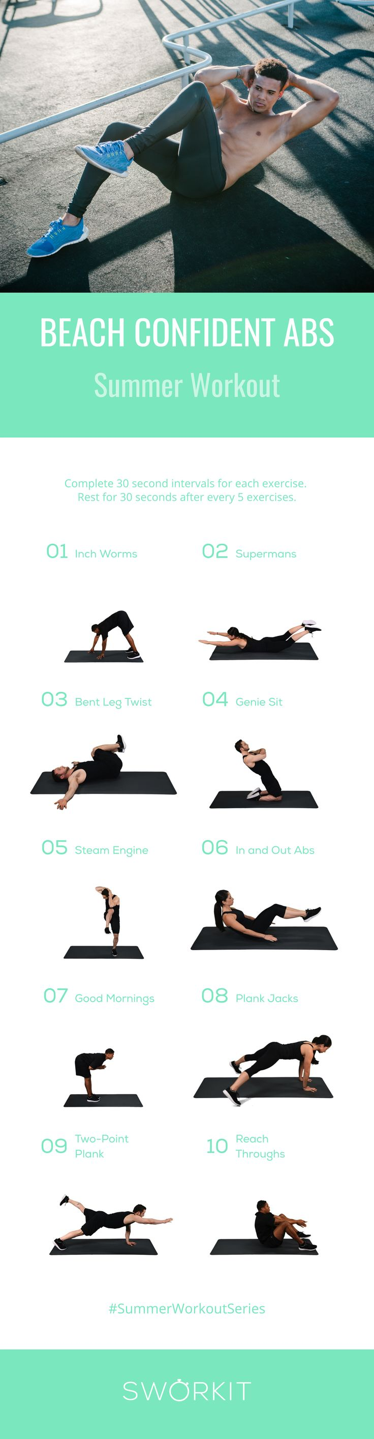 Get Working on Your Beach Confident Body! We have the #SummerWorkoutSeries with custom exercises for your #BeachBod. We're not promising 6-pack abs, but you will feel a stronger and tighter core on the beach. #SummerWorkoutSeries