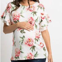 De moda de las mujeres de manga corta maternidad flor ropa de embarazo Camiseta …