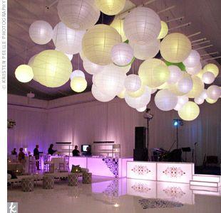 Wedding decoration: Lights, Idea, Dance Floors, Receptions, Paper Lanterns, Wedding Colors, Balloon, Shades Of Green, Ceilings Decor