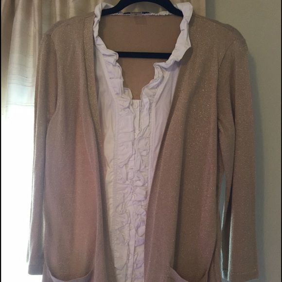 White & gold long sleeve top Great one piece top! I wore it a one or two times when teaching and before I got pregnant.  Easy to wear and to look nice! Peter Nygard Tops Blouses