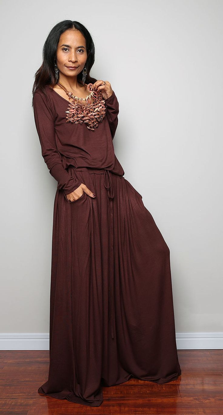 Brown Maxi Dress - Chocolate Brown Long Sleeve Dress : Autumn Thrills Collection No.1 (Best Seller) by Nuichan on Etsy https://www.etsy.com/listing/206813894/brown-maxi-dress-chocolate-brown-long