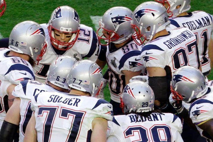 Huddle.  Patriots vs. Seahawks: Super Bowl XLIX The New England Patriots take on the Seattle Seahawks in Super Bowl XLIX at University of Phoenix Stadium on Sunday, February 1, 2015.