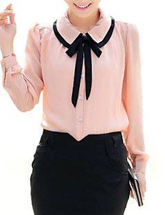 bonito contraste das mulheres arco colarinho da camisa meia manga